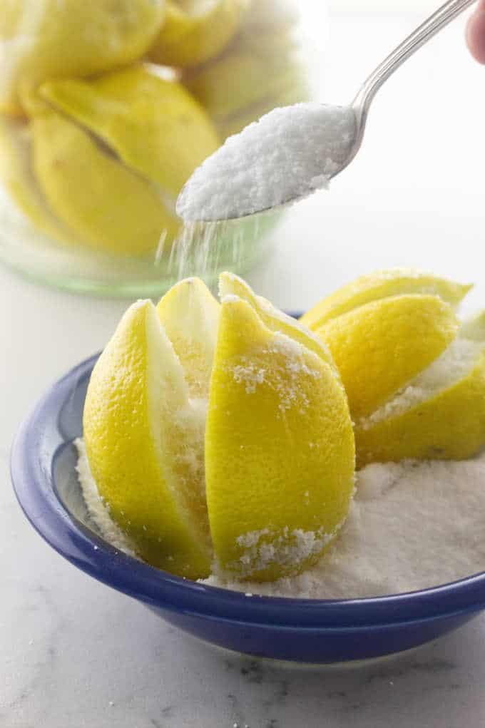 Salting the lemons for preserved lemons