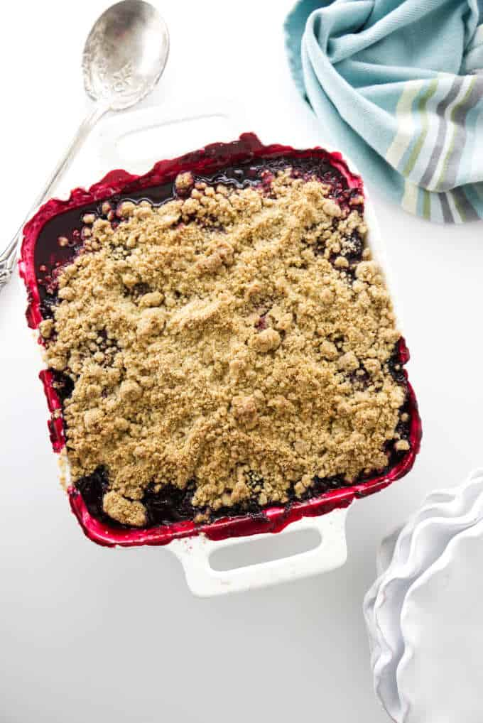 overhead photo of a blackberry crumble