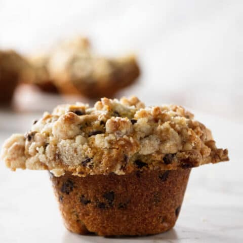 a chocolate chip muffin with streusel topping