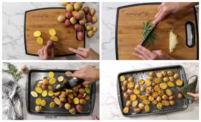 collage of process photos for garlic and rosemary roasted potatoes