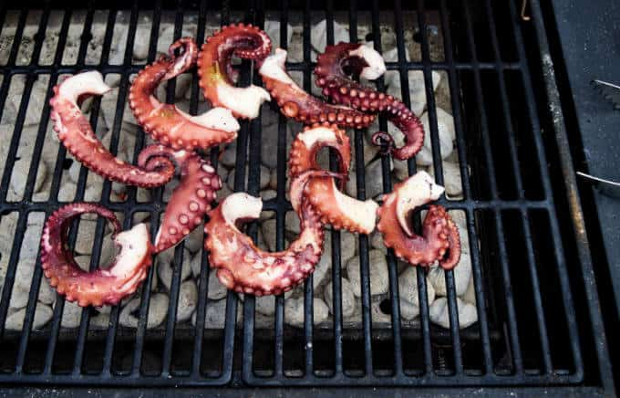 Octopus legs on hot grill
