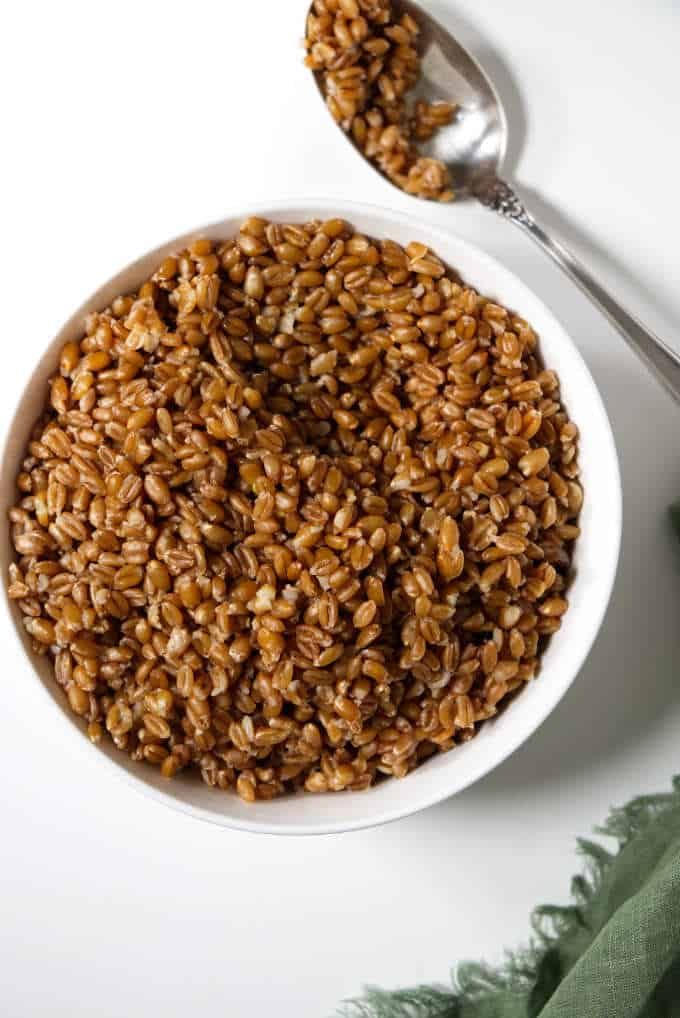 a dish of farro cooked in the Instant Pot