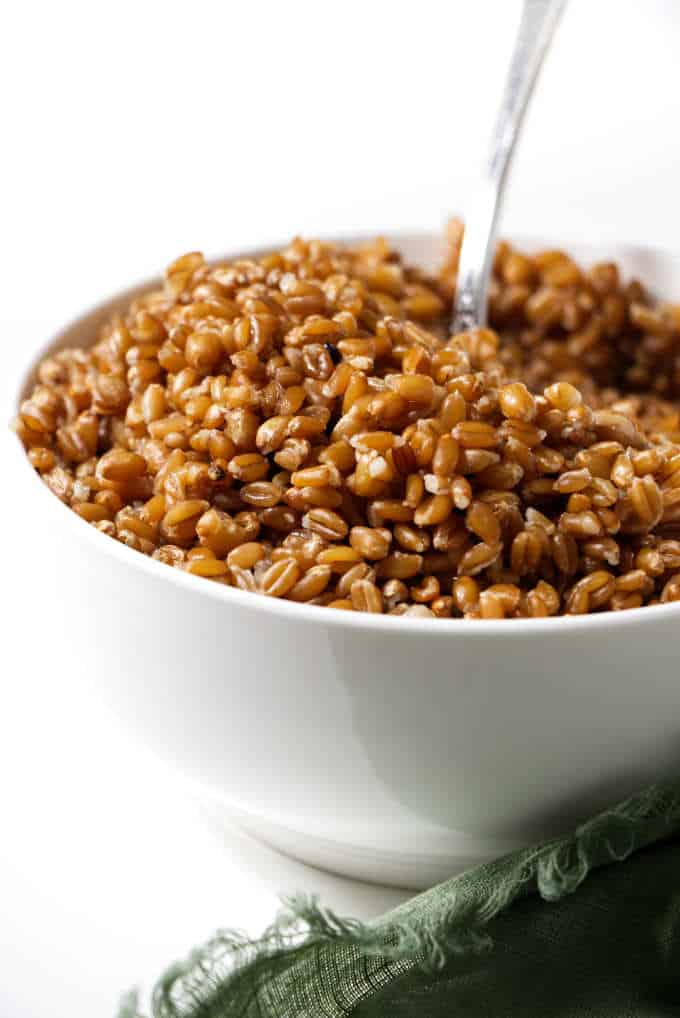 A bowl of Farro cooked in the instant pot