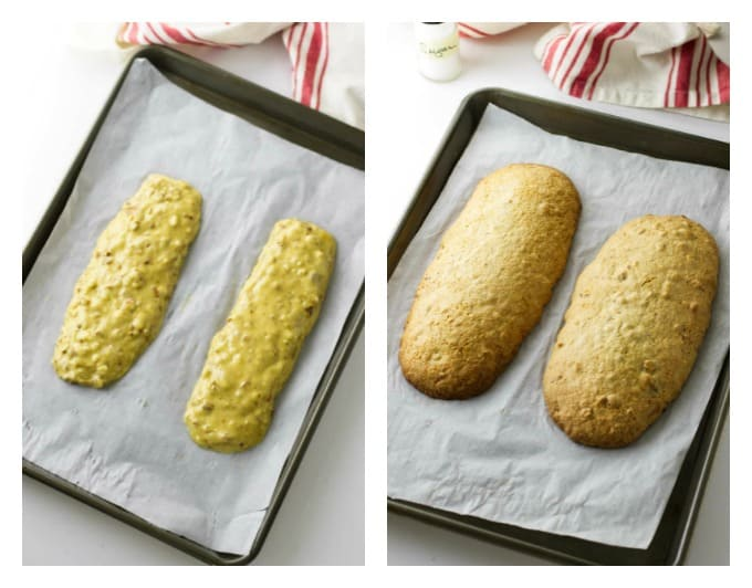 process photos showing how to put almond biscotti on a baking sheet