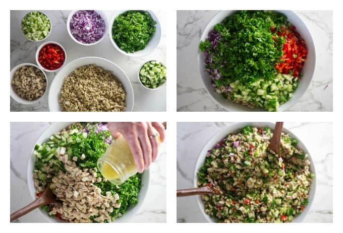 process photos showing the making of chicken barley salad