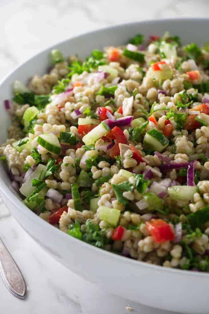 Close up of barley salad