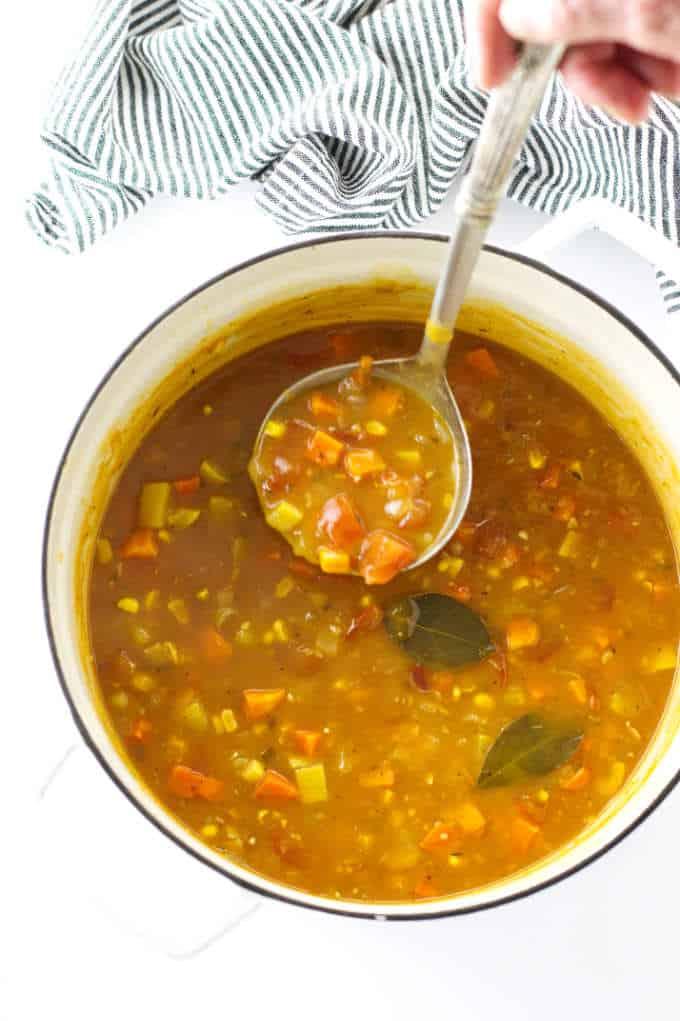 Soup pot of vegetable chowder