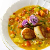 Vegetable Chowder with Seared Scallops