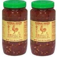 Huy Fong Sambal Oelek Ground Fresh Chili Paste (Large 18 oz Jars) 2 Pack