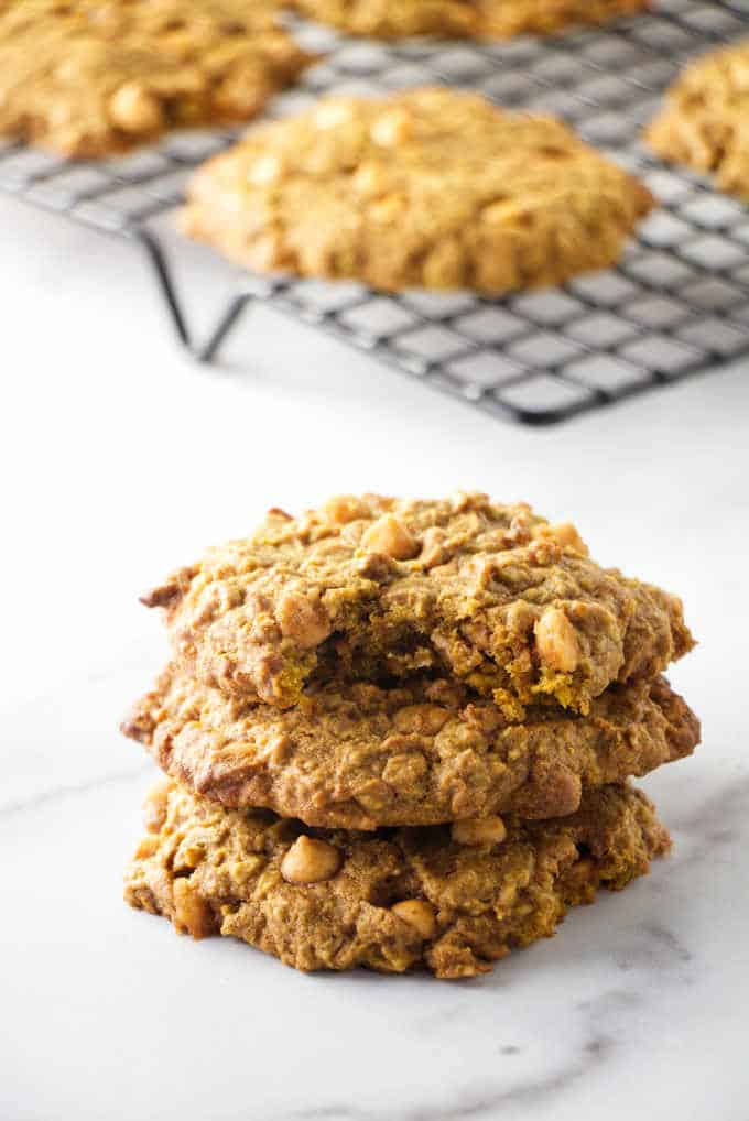 Pumpkin oatmeal cookies on a cooling rack