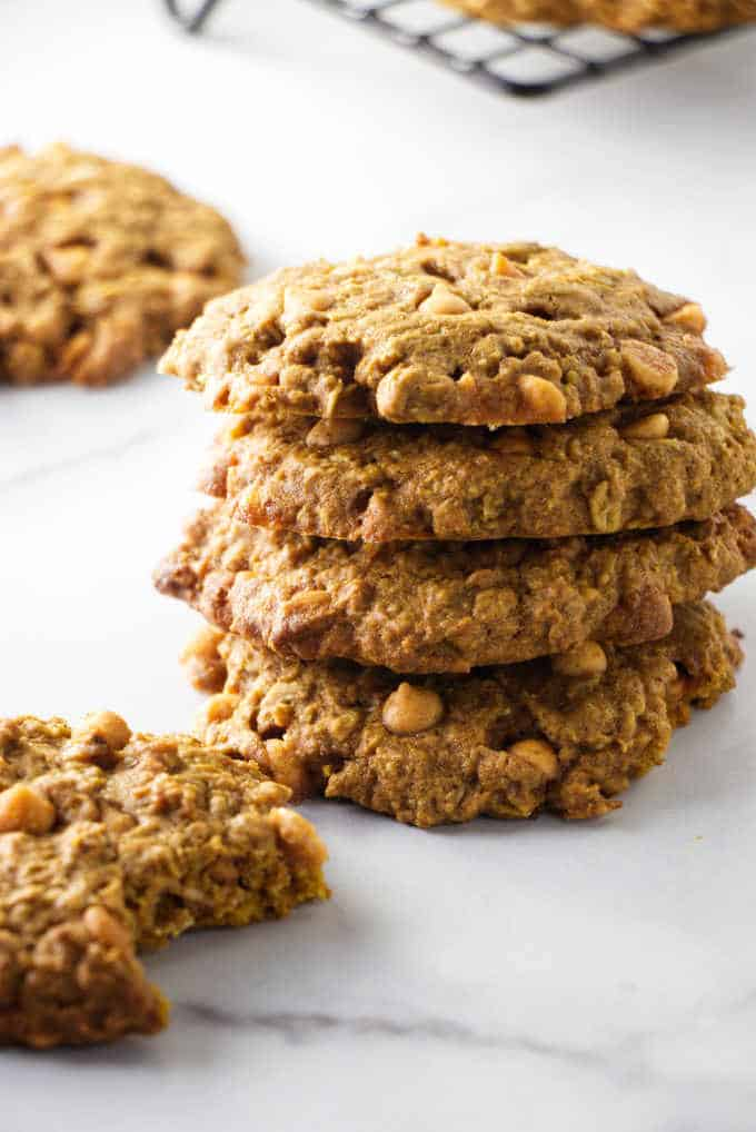A stack of pumpkin oatmeal cookies