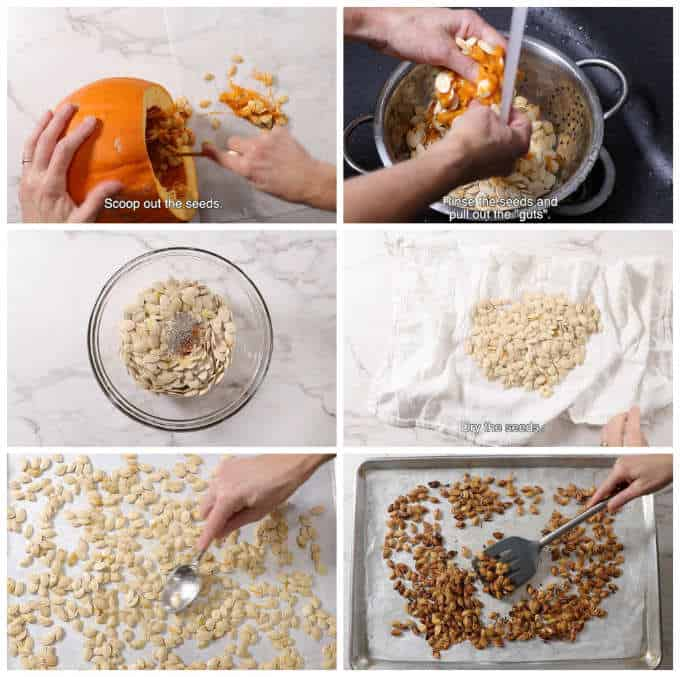 collage of 6 photos showing the steps for roasting pumpkin seeds