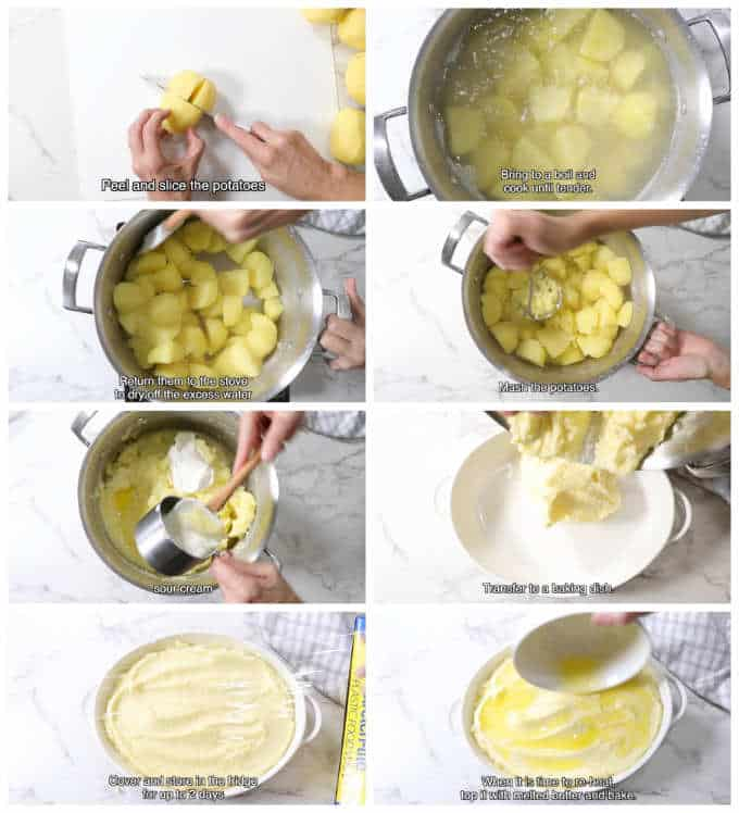 collage of 8 photos showing how to mix make ahead mashed potatoes