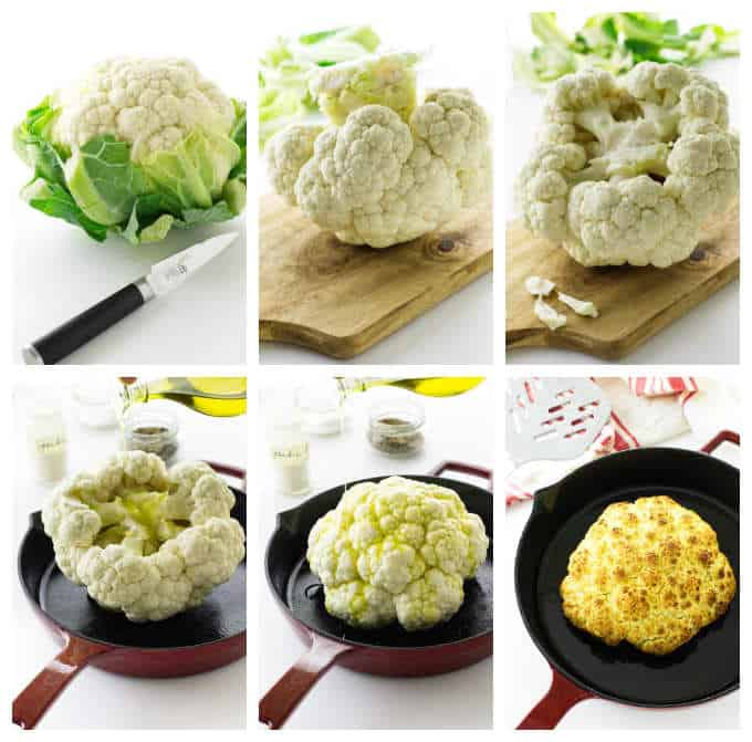 Collage of cauliflower prep