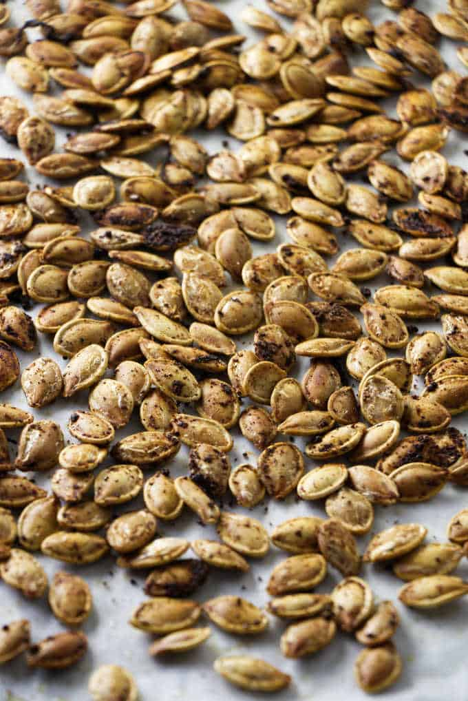 close up of roasted pumpkin seeds