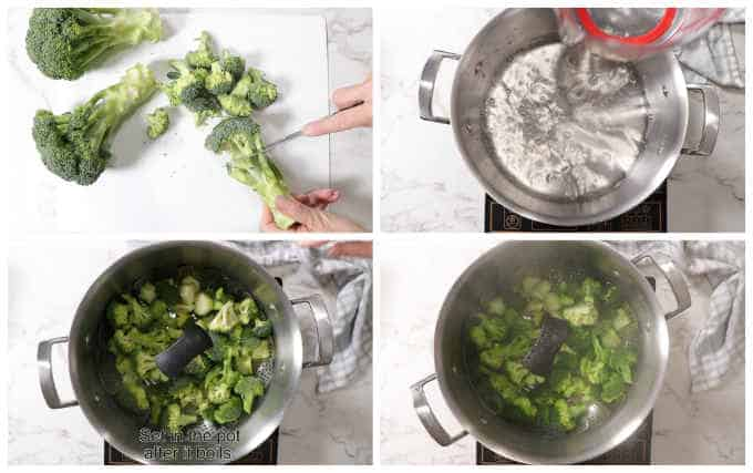 collage showing how to steam broccoli on the stovetop