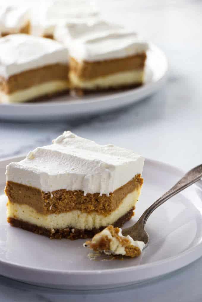 Pumpkin cheesecake bars with three layers