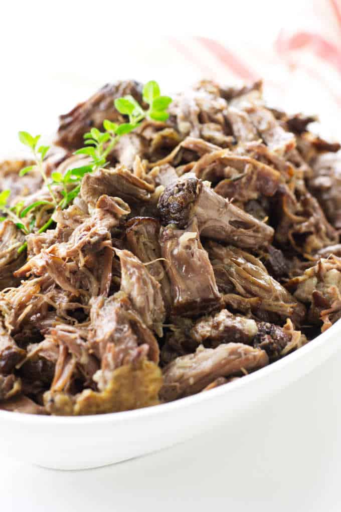Dish of shredded beef from oxtail