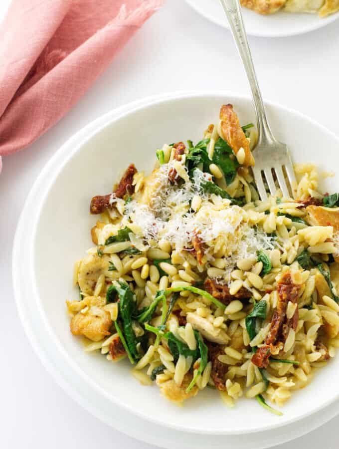 Serving of orzo pasta and chicken