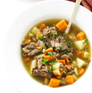 overhead view of oxtail soup