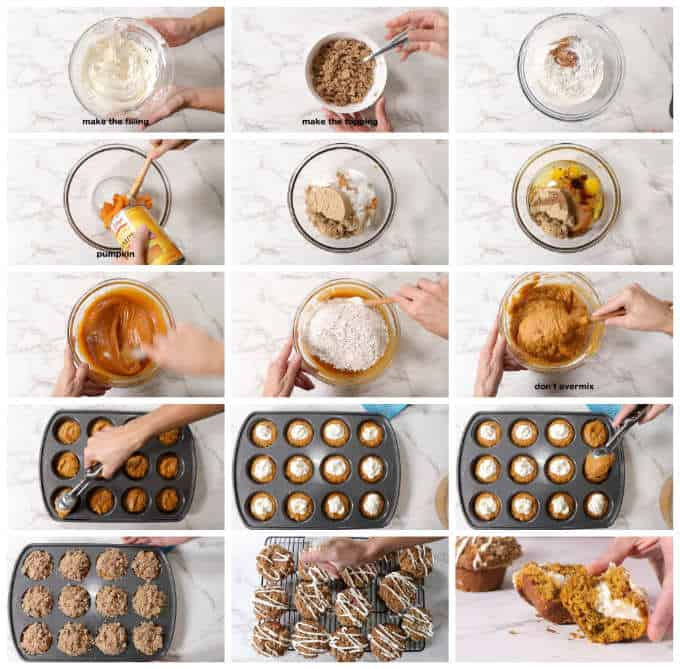 collage of process photos showing how to make pumpkin muffins stuffed with cheesecake
