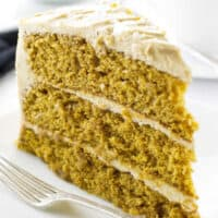 Pumpkin Spice Cake with Salted Caramel Frosting