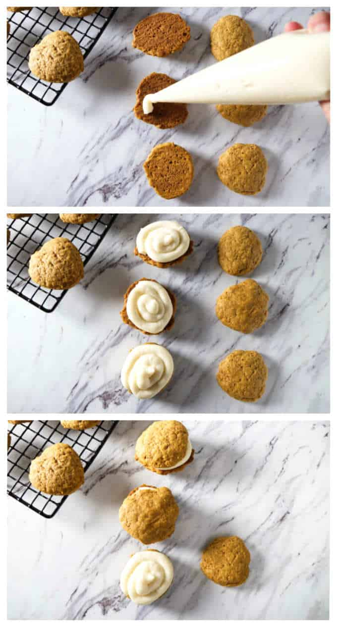 process photos showing how to make pumpkin whoopie pies or pumpkin cookies with cream cheese frosting
