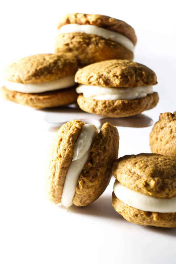 6 pumpkin whoopie pies with cream cheese frosting