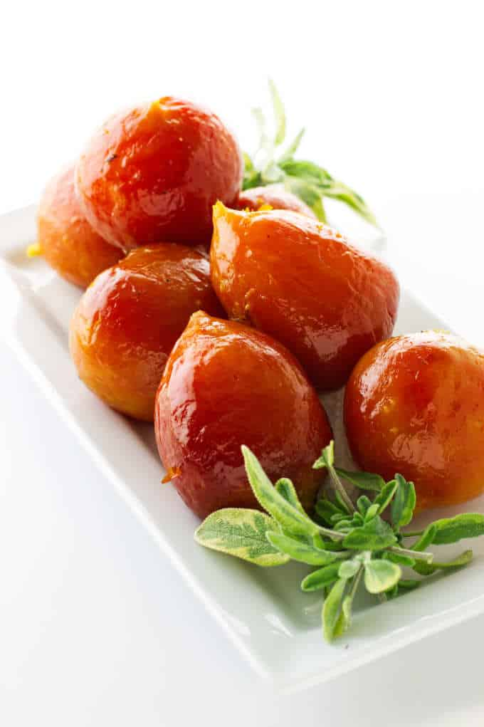Roasted golden beets on a serving platter