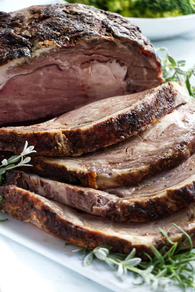 smoked prime rib on a serving platter
