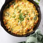 sweet potato frittata in a cast iron skillet