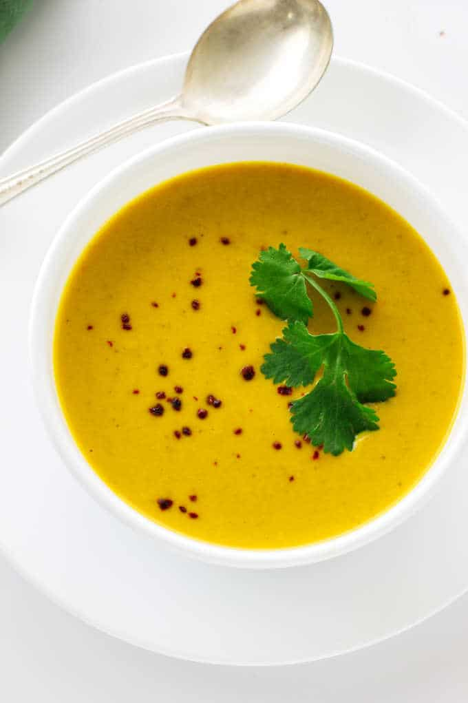 Overhead view of pumpkin soup