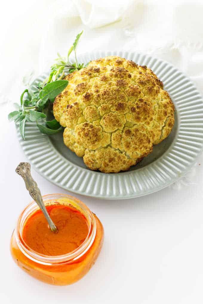 Roasted Cauliflower with Buffalo Sauce