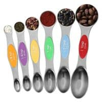 Julance Magnetic Measuring Spoons Set, Stainless Steel, Upgraded Colourful Dual Sided Teaspoon Set, Fits in Spice Jars, Tablespoon Set for Measuring Dry and Liquid Ingredients, Set of 6