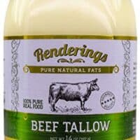 Rendering's Beef Tallow, 100% Grass-Fed & Finished, Cooking, Baking and Frying, 14 oz jar