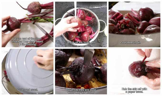 collage of 6 photos showing how to roast beets