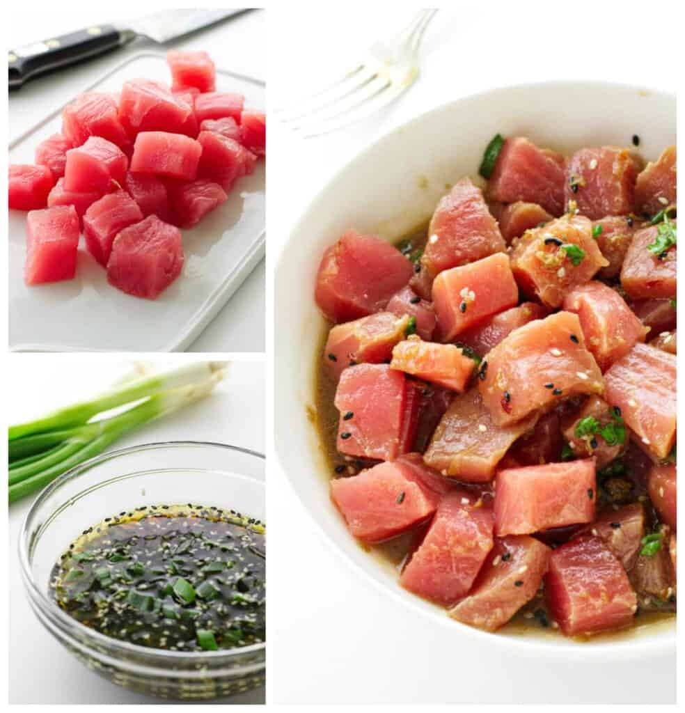 College of cut tuna, bowl of marinade, dish of marinating tuna
