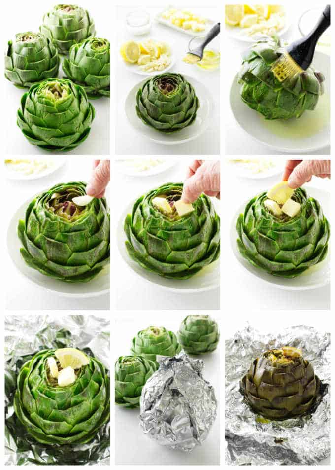 Processing pictures of how to make roasted artichokes