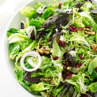 Overhead view of green salad