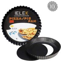 Tart Flan Pie Pan Nonstick Heavy Duty 10 Inch Quiche Cheese Molds With Removable Loose Bottom Fluted