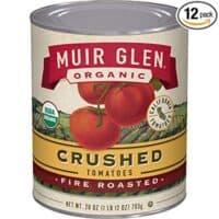 Muir Glen Canned Tomatoes, Organic Crushed Tomatoes, Fire Roasted, No Sugar Added, 28 Ounce Can (Pack of 12)