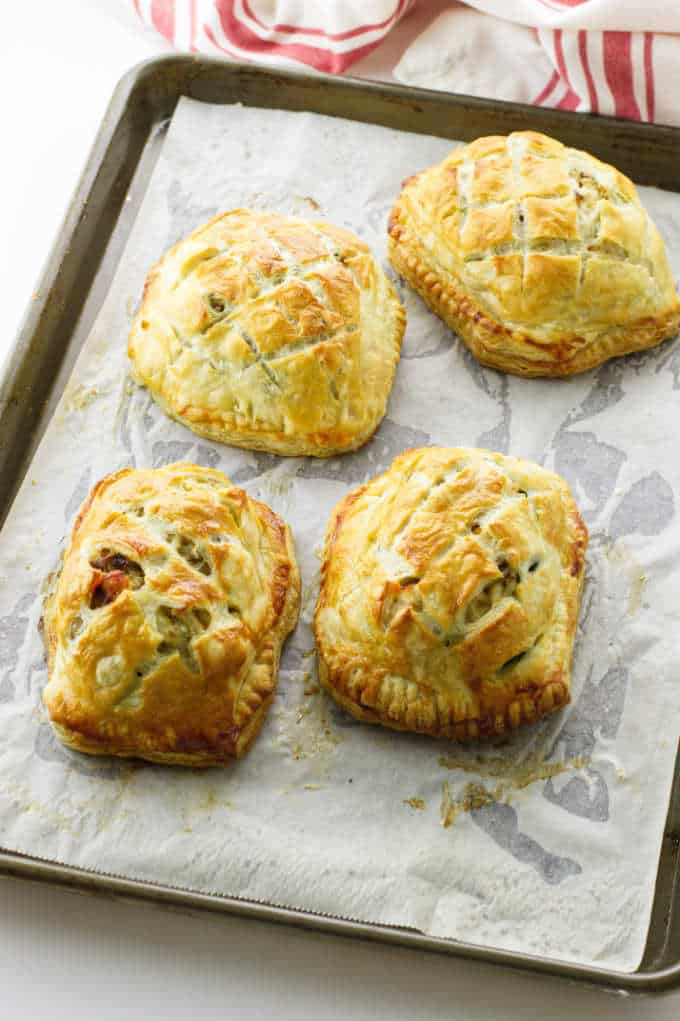 Golden puff pastry encloses salmon and crab