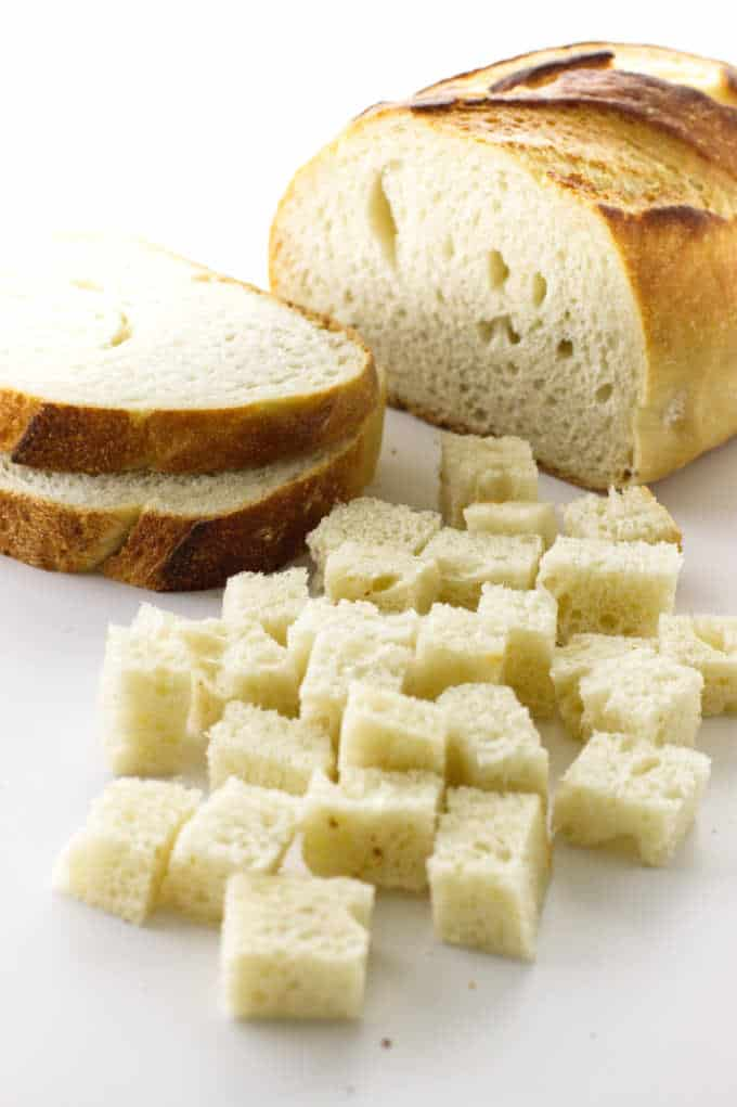 Loaf of bread, slices of bread, bread cubes