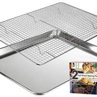 "KITCHENATICS Baking Sheet with Cooling Rack: Half Aluminum Cookie Pan Tray with Stainless Steel Wire and Roasting Rack - 13.1"" x 17.9"" - Heavy Duty Commercial Quality"