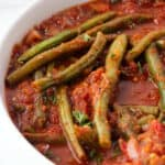 Lebanese braised green beans in a bowl