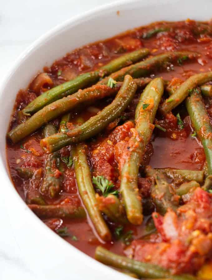 Lebanese braised green beans in a bowl