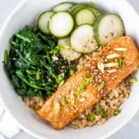 Miso Glazed Salmon Bowl with Quick Pickles and Sesame Spinach Recipe