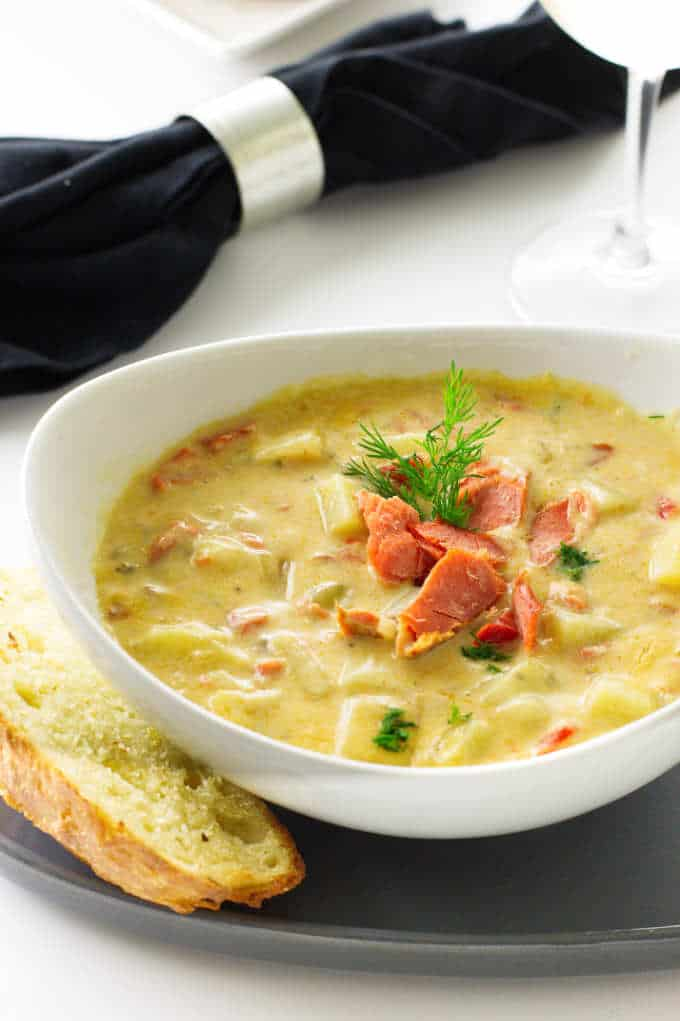 Close up of a bowl of chowder