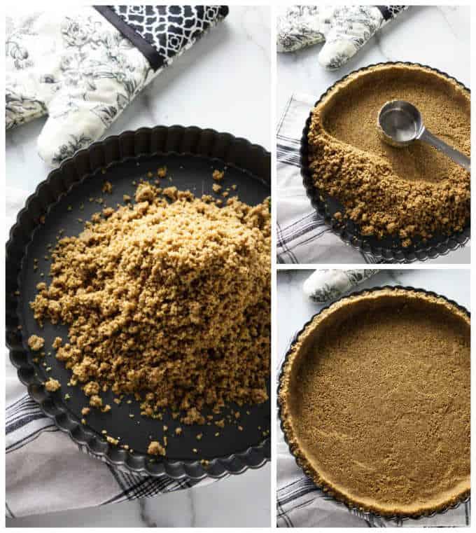 Process photos of pressing a brown sugar pecan pie crust into a tart pan.