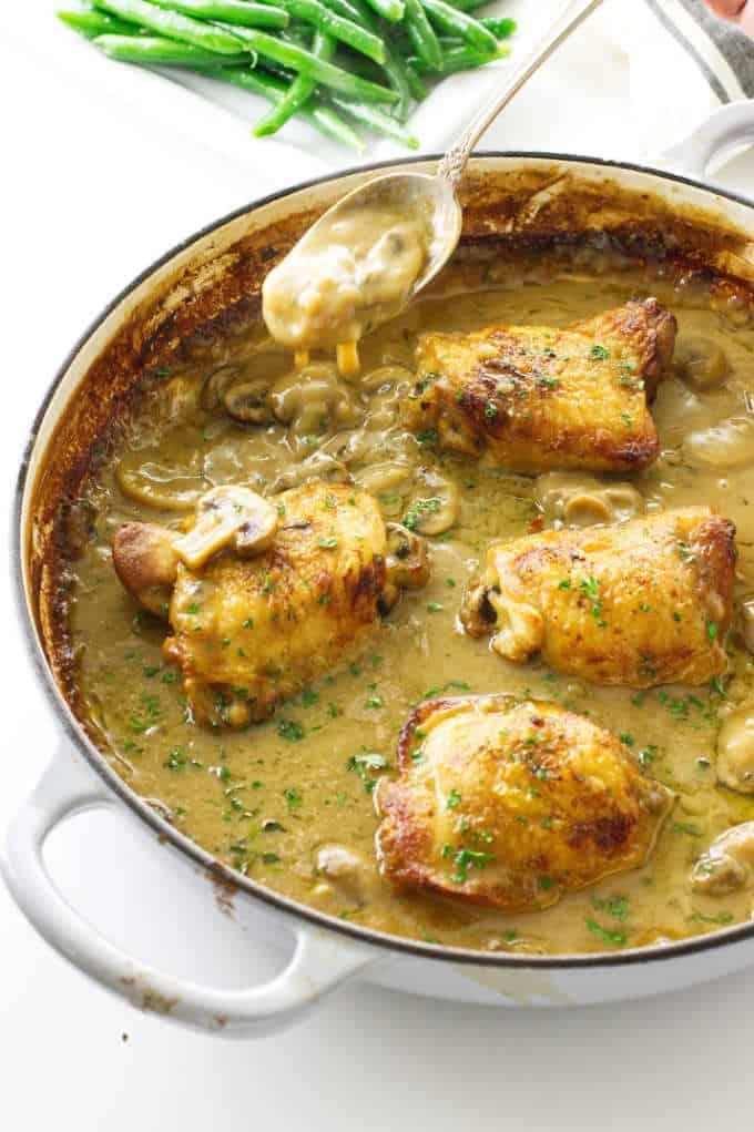 Chicken thighs in creamy mushroom sauce